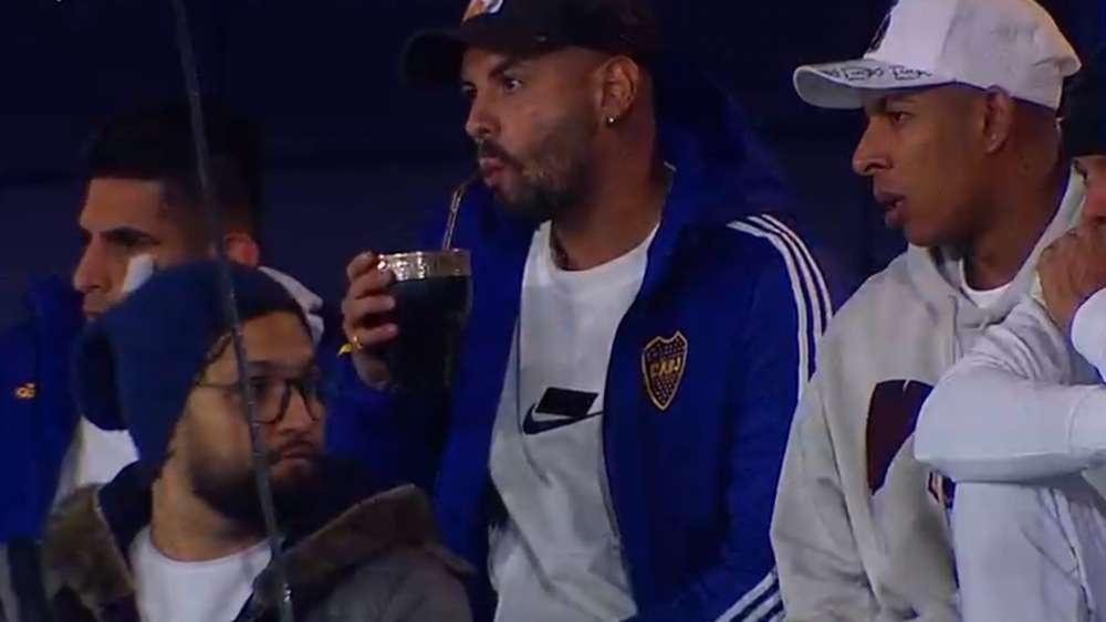 Sebastián Villa vio el partido de Boca. Captura/Fanatiz