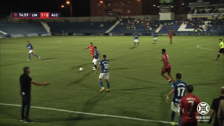 El Linares y el Alcoyano empataron a uno en la segunda jornada de Primera RFEF. Captura/Footters