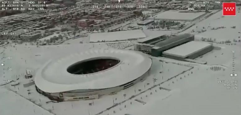 El Wanda Metropolitano, nevado. Captura/ComunidadDeMadrid