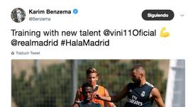 Benzema tuvo un detalle con Vinícius. Twitter/Benzema