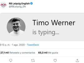 Werner y una broma cruel. Captura/Twitter/RBLeipzig_EN