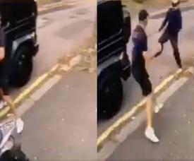 Atacam Özil com uma faca e Kolasinac o defende. Captura/Smhjaames