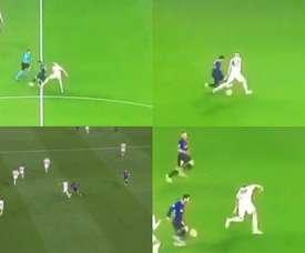 Messi cerró la primera parte destrozando la cintura de Jones. Capturas/Movistar