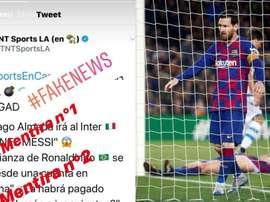 Messi desmentiu informações de jornalista. Captura/Instagram/leomessi/EFE