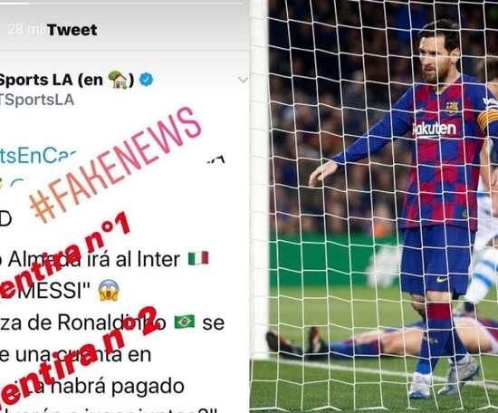 Messi dénonce encore des fake news sur Instagram. Capture/Instagram/leomessi/EFE