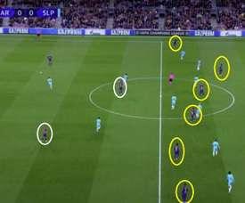 A imagem que evidencia os problemas do Barcelona de Valverde. Captura/Movistar+