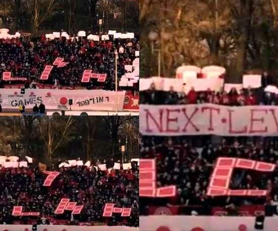 Los ultras del CSKA Sofía jugaron al tetris en las gradas. Captura/NorthStandTV