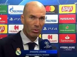 Zinedine Zidane destacou a atuação de Thibaut Courtois contra o Galatasaray. Captura/Movistar+
