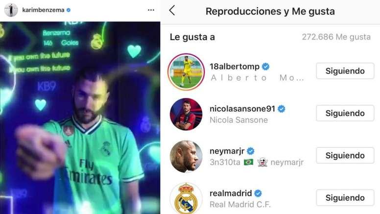 A Neymar le gusta la tercera equipación del Madrid. Instagram/KarimBenzema