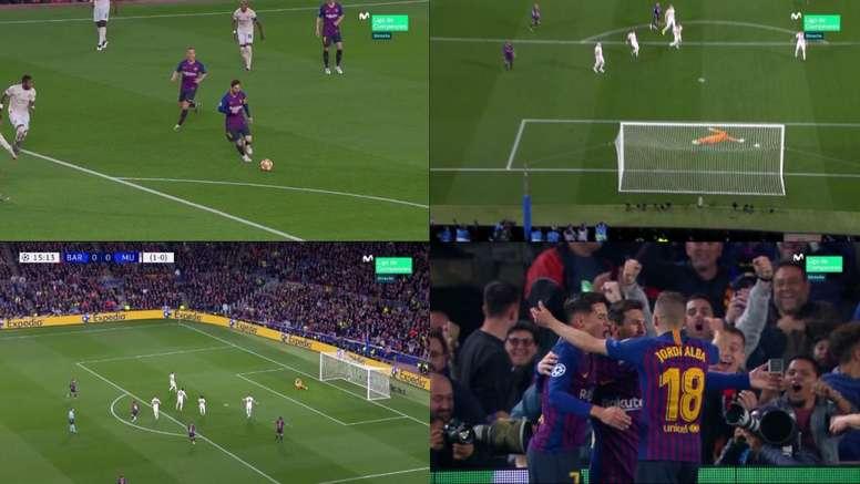 Golaço de Messi para abrir o placar no Camp Nou. Capturas/Movistar