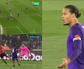 Van Dijk, de la acción defensiva del año a retratado en el gol de Long. Movistar/OptusSport