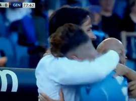 Immobile and Inzaghi embraced after Immobile scored against Genoa. Captura/SkySport