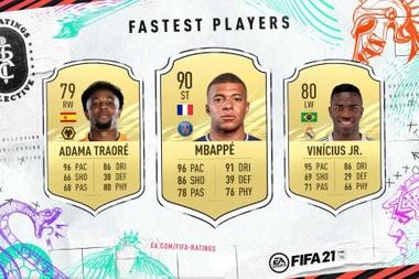 Vinicius, Traoré e Mbappé estão entre os mais rápidos do FIFA 21. Captura/EASports