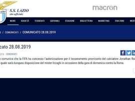 La FIFA valide le transfert de Jony à la Lazio. Captura