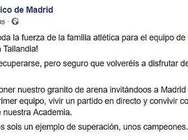 Ambos equipos se solidarizaron con la situación. AtléticodeMadrid
