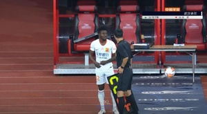 Obafemi Martins with his new side. Screenshot/WKL