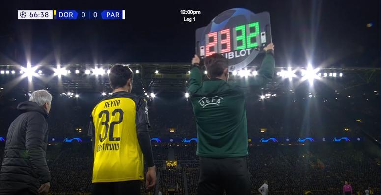 Reyna, el recurso de 17 años del Borussia que debutó en la Champions. Captura/Movistar+