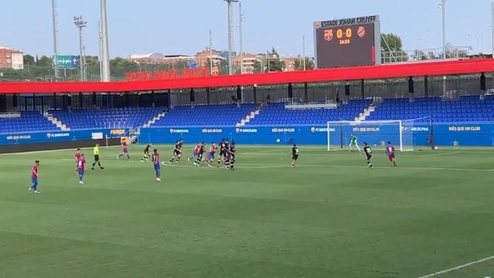 El Barça B, sin mordiente en su test ante el Nàstic. Twitter/FCBarcelonaB