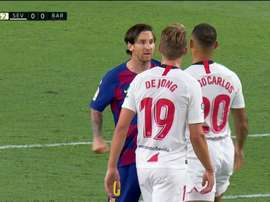 Messi wasn't happy. Screenshot/MovistarLaLiga