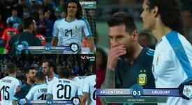Cavani, caliente, retó a Messi... y el argentino no se acobardó. Captura/TyCSports