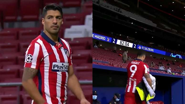 Suárez didn't look too pleased. Screenshot/Movistar+