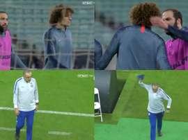 Higuaín et David Luiz s'embrouillent et Sarri quitte l'entraînement furieux. Capture/BTSport