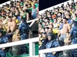La scène raciste qui a eu lieu lors du match DyJ-Santos. Twitter/fabio_conde
