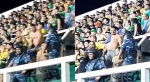 Torcedor do Defensa y Justicia fez gestos racistas em jogo contra o Santos. Twitter/fabio_conde
