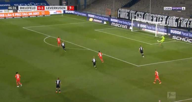 Leverkusen s'en sort malgré la bourde de Hradecky. Captura/beINSports