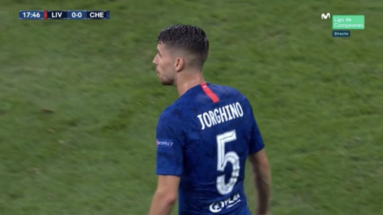 Jorginho, rebaptisé Jorghino le temps d'un match. Capture/Movistar+