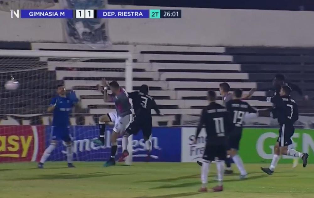 El colegiado anuló un gol legal a Gimnasia Mendoza. Captura/TycSports