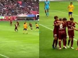 Iniesta a de nouveau marqué au Japon. Capture/VisselKobe