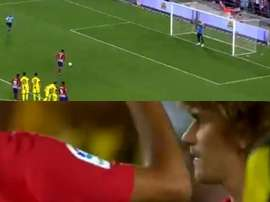 Griezmann scored his last goal for Atletico Madrid in Israel. Captura/GolTV