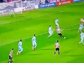 Apaolaza marcó un auténtico golazo. Twitter/goleada_info