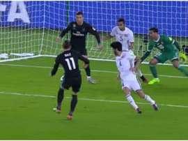 O momento do gol do galês. TVE