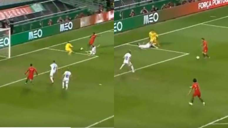 Semedo fez o trabalho e Silva abriu o placar para Portugal. Capturas/UEFATV