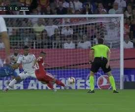 Borja opens the scoring for Girona against Real Madrid. Captura/CasadelFútbol