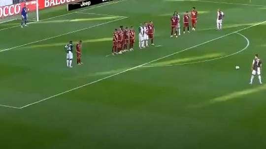 Ronaldo scored a free-kick. Screenshot/Movistar+