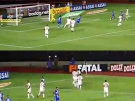Dani Alves estrea o Paulista com gol. Captura/Globoesporte