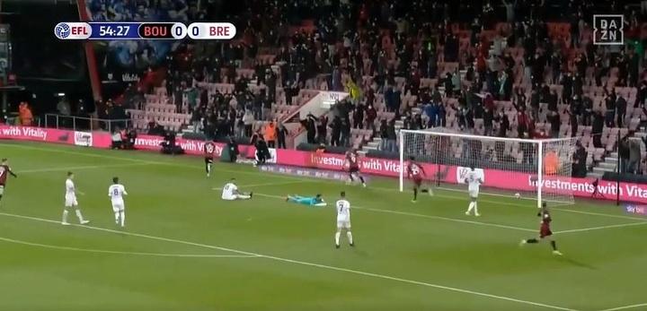 El Bournemouth de Woodgate golpea primero en el 'play off'. Captura/DAZN