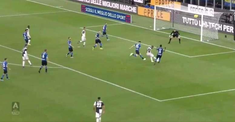 Cristiano marcó el gol de Higuaín al Inter. Captura/VAMOS