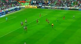 Santos Laguna se adelantó en el marcador. Twitter/LigaBancomerMX