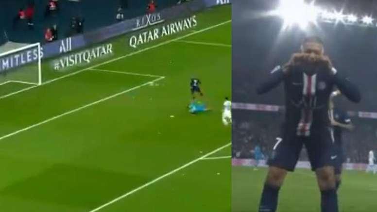 Mbappé a profité d'une belle passe de Draxler pour s'offrir son 23e but de la saison. Captura/Movist