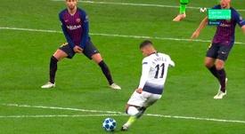 El argentino puso el 2-3 con la ayuda de Lenglet. Captura/CasadelFútbol