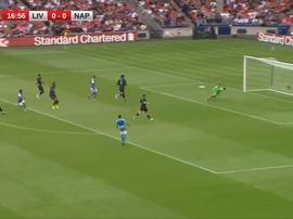 Insigne a ouvert le score face à Liverpool. Capture/DAZN