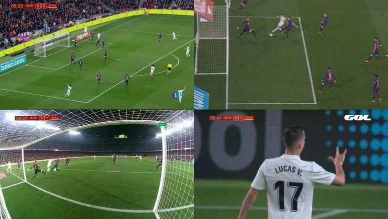 O primeiro golo da eliminatória. Capturas/DirecTV/La1/Gol