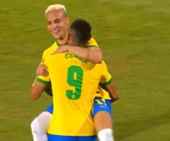 Brasil Olímpica goleó 5-2 a Emiratos Árabes Unidos Sub 23. Captura/ TV Globo