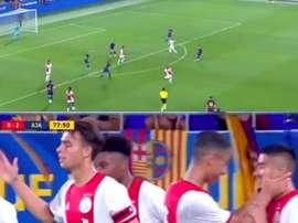 La pépite du centre de formation de l'Ajax s'est illustré au stade Johan Cruyff. Capture/BarçaTV