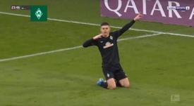 Rashica adelantó al Werder con un golazo. Captura/BeINSports