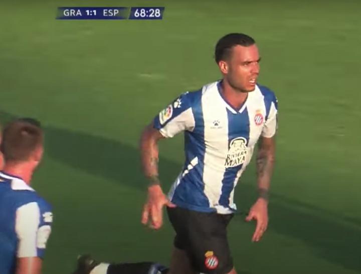 RDT consiguió el gol del empate para el Espanyol. Youtube/GranadaFC